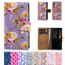 32nd Floral Design Book PU Leather Wallet Case Cover for Sony Xperia Phones