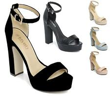 NEW WOMENS ANKLE STRAP PLATFORM LADIES CHUNKY SOLE BLOCK HEEL SANDALS SHOES SIZE