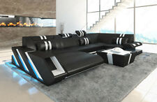 Leather sofa Designer couch Interior APOLLONIA U-shaped + LED + USB black-white