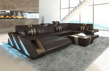 Leather sofa Interior design APOLLONIA U-shaped+LED + USB dark brown sand-beige