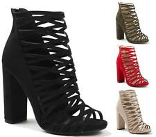 WOMENS LADIES FAUX SUEDE CAGED HIGH BLOCK HEEL PEEP TOE ZIP ANKLE BOOTS SHOES