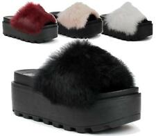 WOMENS PLATFORM WEDGE HEEL LADIES FLATFORM CHUNKY FUR SANDALS SHOES SIZE 3-8