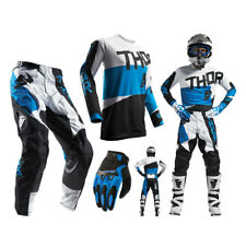 Thor Pulse TAPER COMBO Blanco Azul Pantalones Cross Camiseta de Motocross MX