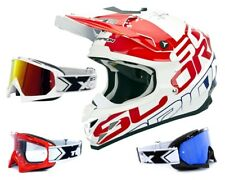SCORPION vx-15 EVO Mx Casco GRID Blanco Rojo Azul incl. two-x RACE Gafas de