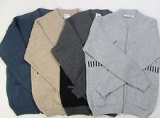 Adults Mens old Zip Through Cardigan Jacquard Style Design Jumper Knitted Pocket