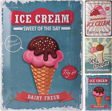 Large Retro Metal Sign Plaque Wall Decor Bar Pub Kitchen 3 Ice Cream Designs