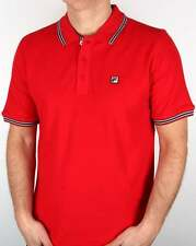 Fila Vintage Matcho 4 Tipped Polo Shirt in Red - 100% pique cotton casual