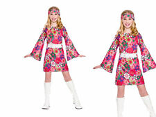 Retro Gogo Girl Girls Hippie Hippy Fancy Dress Costume Ages 3-13