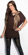 NEUF chauve-souris Pull leo-brooch Foulard Pull Mailles fines PULL LONG ! 8066