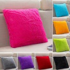 New Plush Square Pillow Case Sofa Throw Cushion Cover Home Bed Decor Fluffy Soft