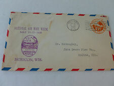 National Air Mail Week 1939 Cover-Horison Wisconcin Cancel & Moline,IL Address