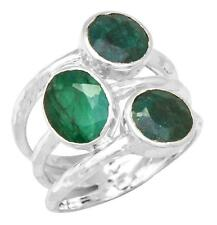Brazilian Emerald Gemstone Ring Solid 925 Sterling Silver Jewelry IR36547