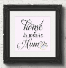 Home Is Where Mum Is Vinyl Decal Sticker Box Frame / Glass Block  (V55)