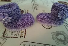 Hand Knitted Purple and Lilac Bootees Boots , 0-3, 3-6 or Reborn