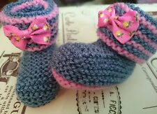 Hand Knitted Pink + Denim Bootees Boots , 0-3, 3-6 or Reborn