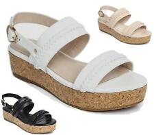 LADIES FLAT CORK WEDGE PLATFORM SLIP ON FOOTBED TWO BUCKLE SANDALS MULES SHOES