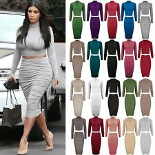 Ladies Womens Inspired Sklinky Polo Neck Crop Top Midi Ruched Skirt Co-Ord Set