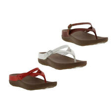 Fitflop Flip Sandal Flip Flop Womens Red White Brown Toe Post Sandals Size 4-8
