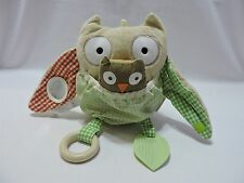 "Pottery Barn Kids Owl Skip Hop Tan Green Red Activity Plush Toy 8"" Cute"