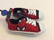 Boys Spiderman Canvas Sneakers With Laces Trainers Shoes Uk Size 9-2