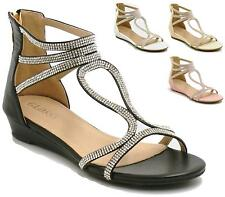 WOMENS LADIES EVENING WEDDING PROM PARTY FLAT LOW WEDGE DIAMANTE SANDALS SHOES
