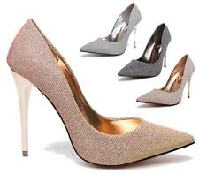 WOMENS LADIES HIGH STILETTO HEEL BRIDAL PROM PARTY CASUAL EVENING COURT SHOES