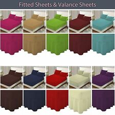 Plain Dyed Poly-cotton Fitted,Fitted Valance Sheet,Pillowcase Single,Double,King