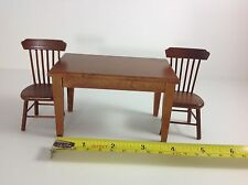 Dollhouse Miniature Kitchen Furniture Mahogany Wood Dining Table 2 Chairs 1:12