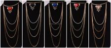STATEMENT FAUX CRYSTAL 3D TRIANGLE MARBLE PENDANT LONG MULTIPLE CHAIN NECKLACE