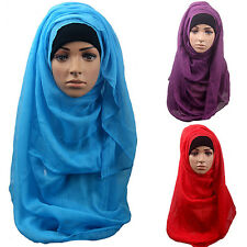 WOMENS COTTON MUSLIM ISLAMIC RAMADAN HIJAB LONG SCARF SHAWL WRAP HEADWEAR SHINY