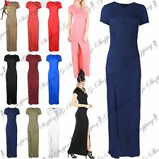 Ladies Womens Cap Short Sleeve Front Split Slit High Waist Split Maxi Dress Top