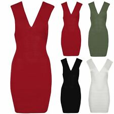 New Womens Ladies Ribbed Deep V Plunge Neck Wrap Over Bodycon Plain Casual Dress