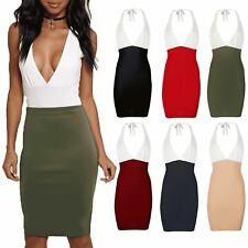 Ladies Womens Halter VPlunge Neck Tie Knot Backless Contrast Tunic Bodycon Dress