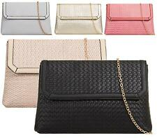 LADIES FLAT ENVELOPE FASHION FAUX LEATHER LARGE PURSE PARTY EMBOSSED CLUTCH BAGS