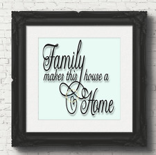 Family Makes This House A Home Vinyl Decal Sticker Box Frame / Glass Block (V74)