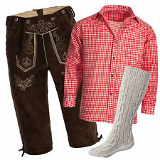 Men's Set Lederhosen marron oscuro + correas + Calcetine Beige + Camisa Rojo