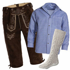 Men's Set Lederhosen marron oscuro + correas + Calcetine Beige + Camisa Azul