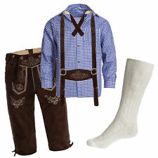 Men's Set Lederhosen marron oscuro + correas + Calcetine Blanco + Camisa Azul
