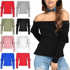 New Ladies Womens Bardot Off Shoulder Ruffle Frill Sleeves Stretchy T-Shirt Top
