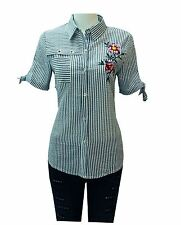 Ladies Womens Floral Embroidered Shirt Short Sleeves Collared Top Dress