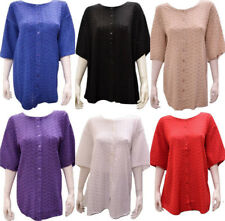 PLUS SIZE ROUND NECK CUT WORK BUTTON DOWN SHORT SLEEVED TUNIC 16 18 20 22 24