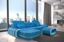 Real Leather Sofa designersofa Roma L-Shaped Corner Couch with LED + USB