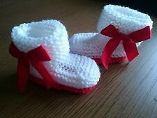 Hand Knitted White with Red Sole Bootees Boots , 0-3, 3-6 or Reborn