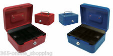 Petty Cash Box Metal Security Money Safe Tray Holder Key Lock Lockable Blue/Red