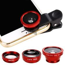 Universal 3 in1 Fisheye Wide Angle Macro Camera Lens Kit Clip On for LEBB01