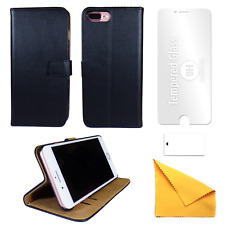 iPhone Leather Phone Case + Tempered Glass Screen Protector Flip Gadgitech