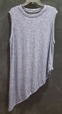 Cha Cha Vente Plus Size 1X 2X Sleeveless A Symmetrical Chambray Tank Tunic Z1