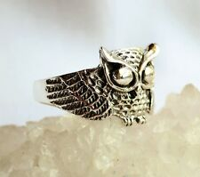 Wise Owl Solid 925 Silver Steampunk-Style Ring~Wicca~Stylish Pagan Jewellery