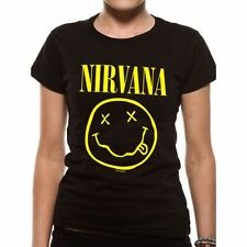Official Women's Nirvana Smiley Logo Black Fitted T-Shirt - Rock