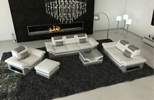 Designer Couch Sofa Set Leather Luxury Sofa Set 3-2-1 Monza LED Lights